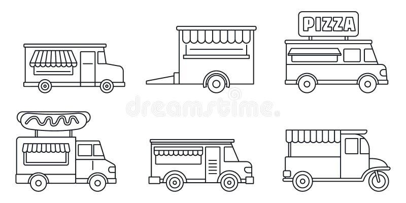 Σύνολο εικονιδίων φορτηγών τροφίμων φεστιβάλ, ύφος περιλήψεων ελεύθερη απεικόνιση δικαιώματος