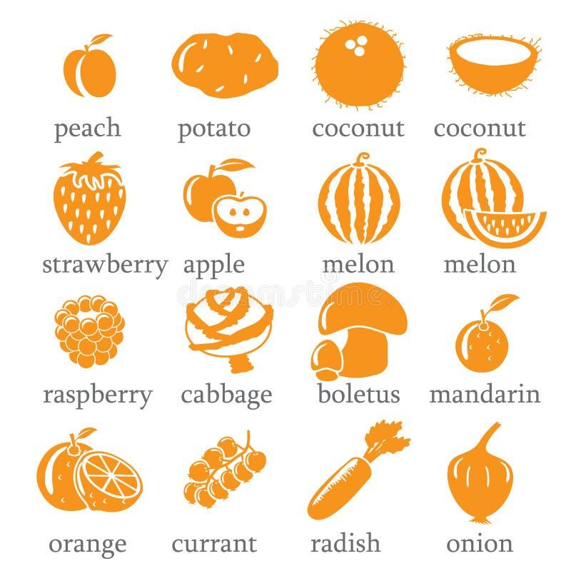 Σύνολο εικονιδίων φρούτων και λαχανικών ελεύθερη απεικόνιση δικαιώματος