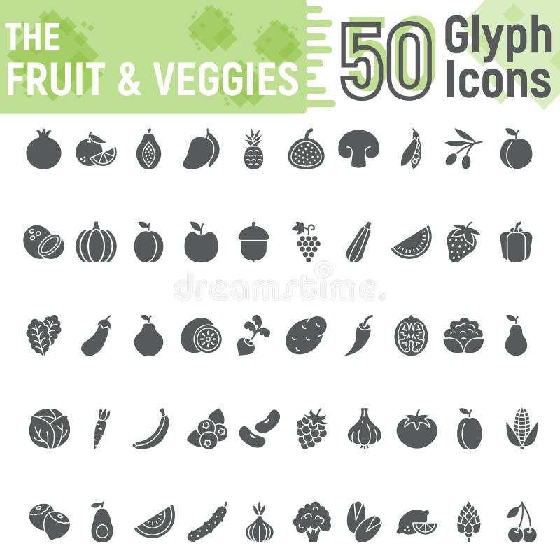 Σύνολο εικονιδίων φρούτων και λαχανικών glyph, χορτοφάγος ελεύθερη απεικόνιση δικαιώματος