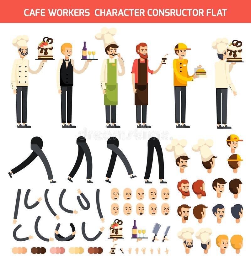 Σύνολο εικονιδίων χαρακτήρα εργαζομένων καφέδων διανυσματική απεικόνιση