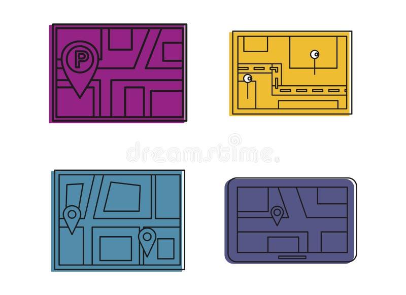 Σύνολο εικονιδίων χαρτών ΠΣΤ, ύφος περιλήψεων χρώματος ελεύθερη απεικόνιση δικαιώματος