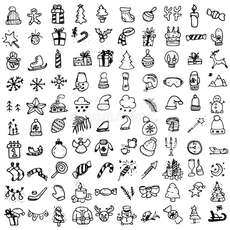100 σύνολο εικονιδίων Χριστουγέννων Doodle απεικόνιση αποθεμάτων