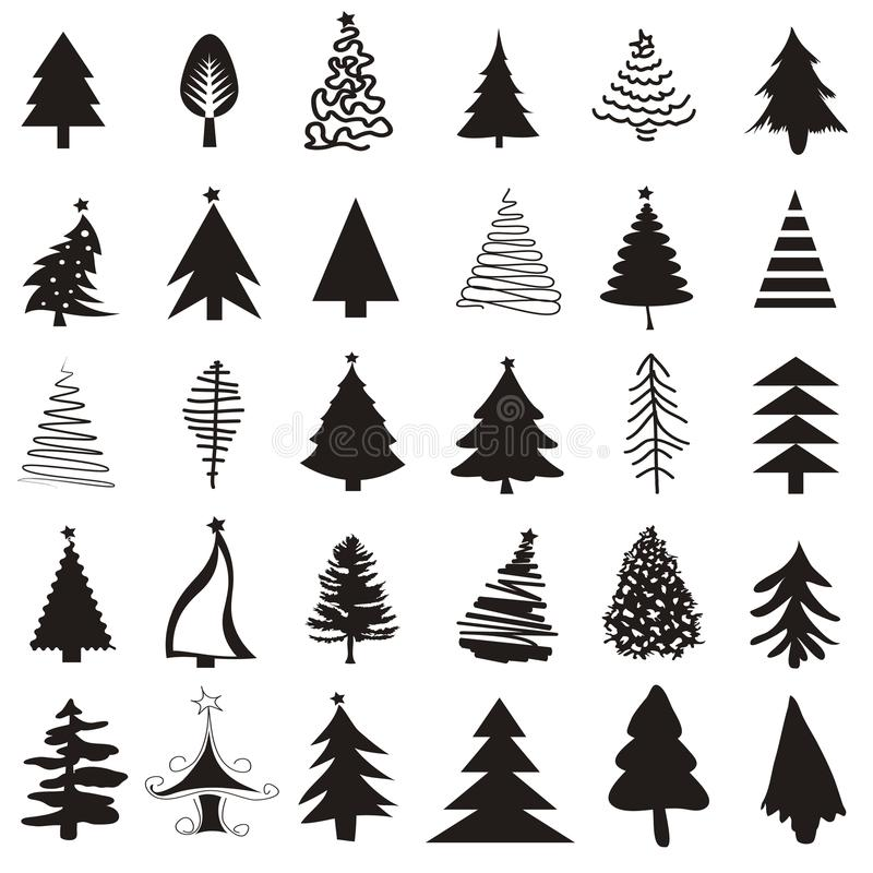 Σύνολο εικονιδίων χριστουγεννιάτικων δέντρων ελεύθερη απεικόνιση δικαιώματος