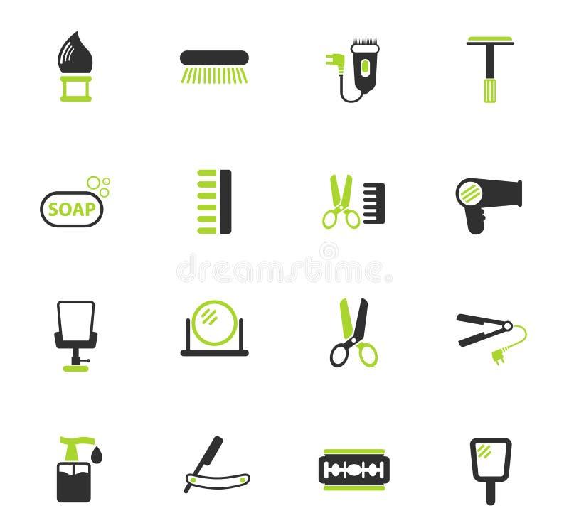 Σύνολο εικονιδίων χρώματος Barbershop διανυσματική απεικόνιση