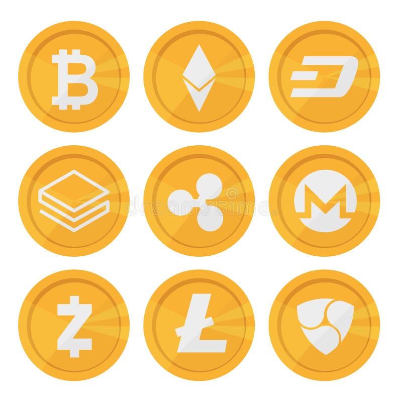 Σύνολο εικονιδίων cryptocurrency για τα χρήματα Διαδικτύου Το Blockchain βάσισε ασφαλή ελεύθερη απεικόνιση δικαιώματος