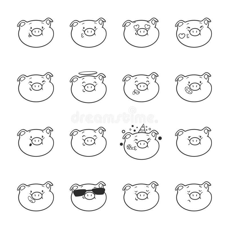 Σύνολο εικονιδίων emoticon Χοίροι Emoji για το χρωματισμό διανυσματική απεικόνιση