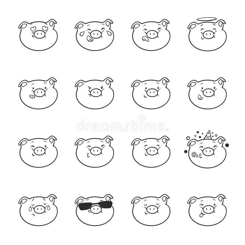 Σύνολο εικονιδίων emoticon Χοίροι Emoji για το χρωματισμό απεικόνιση αποθεμάτων