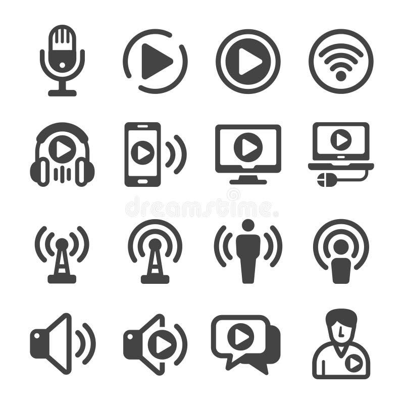 Σύνολο εικονιδίων Podcast διανυσματική απεικόνιση