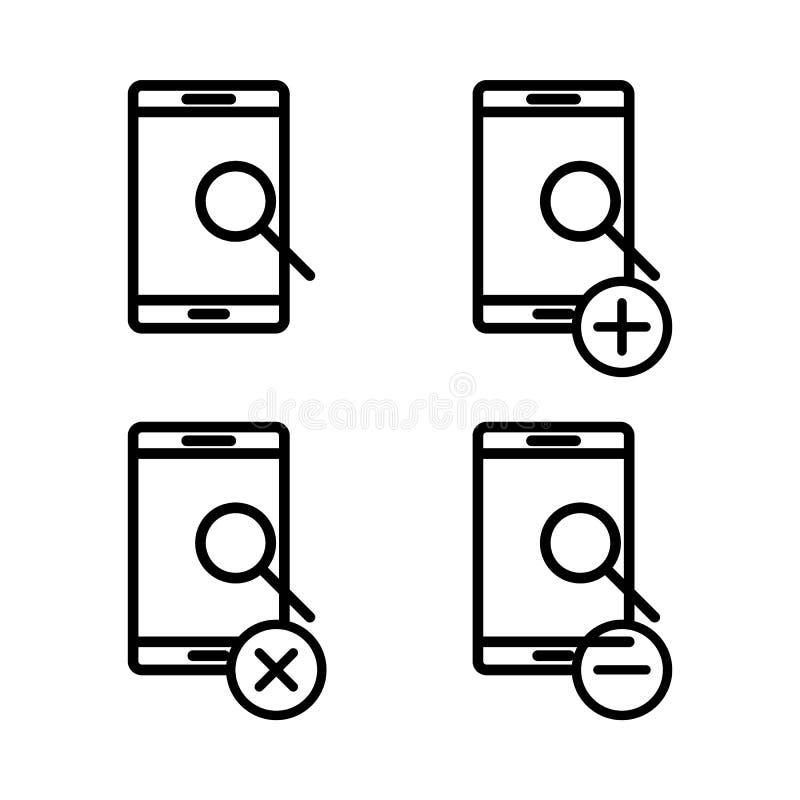 σύνολο εικονιδίων smartphone αναζήτησης Στοιχείο των τηλεφωνικών εικονιδίων για την κινητούς έννοια και τον Ιστό apps Λεπτά εικον διανυσματική απεικόνιση