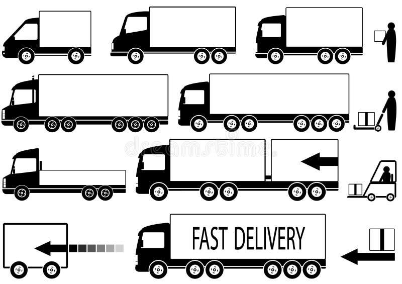 Σύνολο εικονιδίων truck με τους ανθρώπους ελεύθερη απεικόνιση δικαιώματος