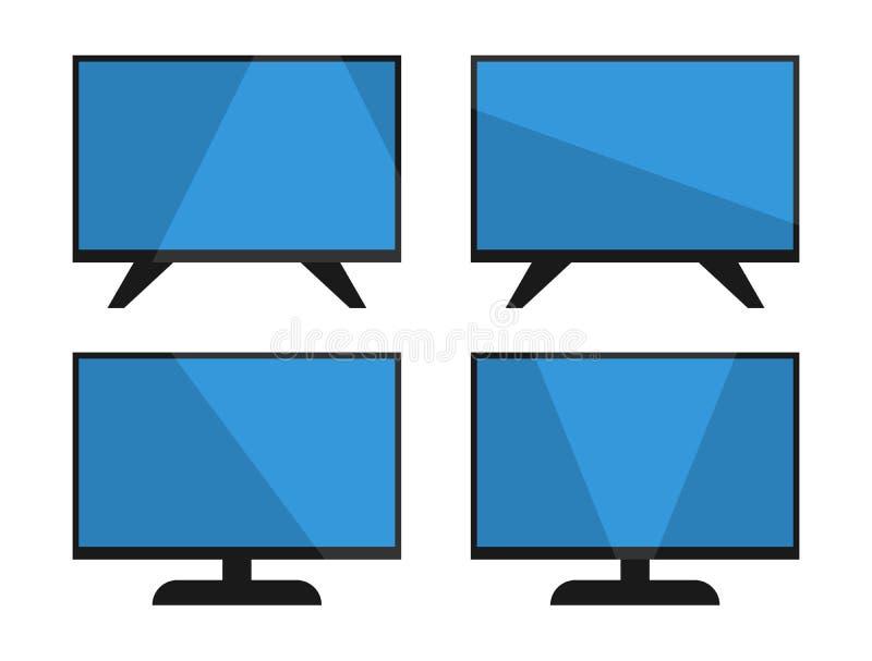 Σύνολο εικονιδίων TV, απλό τηλεοπτικό σχέδιο, σύγχρονη επίπεδη οθόνη με τη σκιά, που απομονώνεται στο άσπρο υπόβαθρο, διανυσματικ απεικόνιση αποθεμάτων