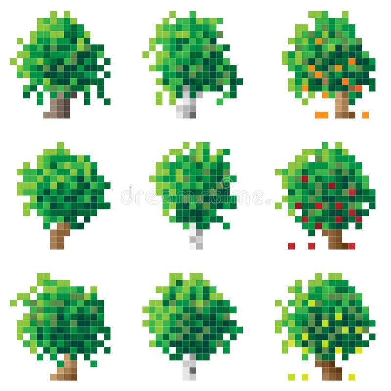 Σύνολο εικονοκυττάρου treebirch, βαλανιδιά, Apple-δέντρο απεικόνιση αποθεμάτων