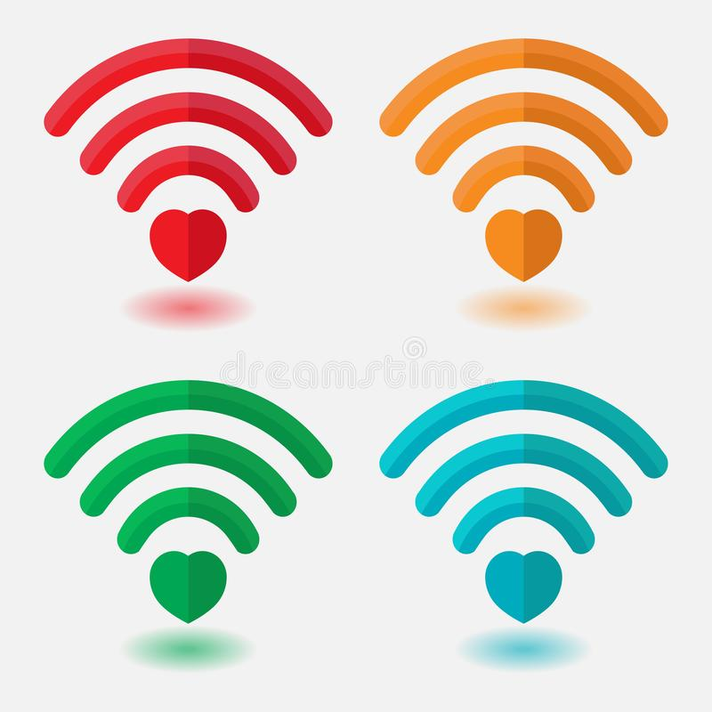 Σύνολο εικόνων της WI-Fi με την καρδιά, σήμα καρδιών, σύνδεση betw ελεύθερη απεικόνιση δικαιώματος