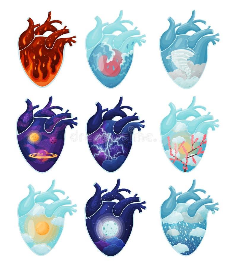 Σύνολο εικόνων των φυσικών φαινομένων μέσα στην καρδιά E διανυσματική απεικόνιση