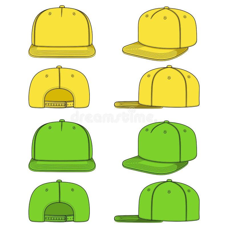 Σύνολο εικόνων χρώματος ενός βιαστή ΚΑΠ με ένα επίπεδο γείσο, snapback Απομονωμένα διανυσματικά αντικείμενα διανυσματική απεικόνιση