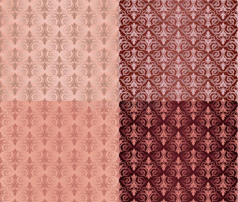 Σύνολο εκλεκτής ποιότητας άνευ ραφής σχεδίων διακοσμήσεων με τα σχέδια λουλουδιών στο υπόβαθρο κλαρέ ύφους της Δαμασκού απεικόνιση αποθεμάτων