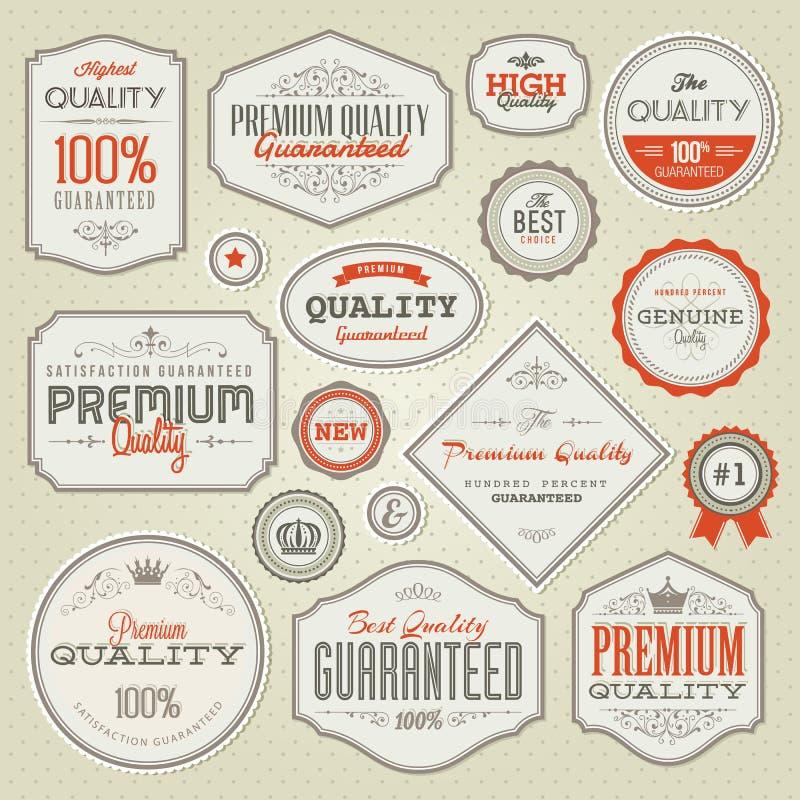 Σύνολο εκλεκτής ποιότητας ετικετών και διακριτικών εξαιρετικής ποιότητας ελεύθερη απεικόνιση δικαιώματος