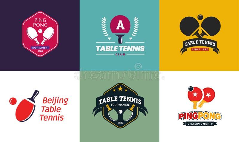 Σύνολο εκλεκτής ποιότητας λογότυπων και διακριτικών επιτραπέζιας αντισφαίρισης χρώματος Συλλογή των ετικετών πρωταθλήματος αντισφ διανυσματική απεικόνιση