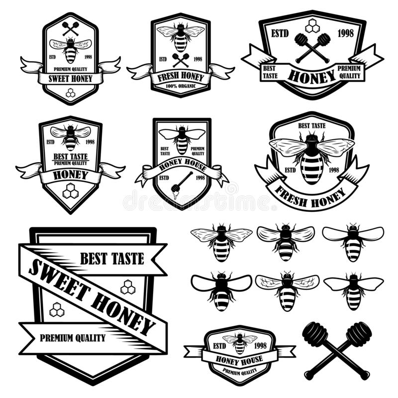 Σύνολο εκλεκτής ποιότητας προτύπου ετικετών μελιού Εικονίδια μελισσών Στοιχείο σχεδίου για το λογότυπο, ετικέτα, έμβλημα, σημάδι, απεικόνιση αποθεμάτων