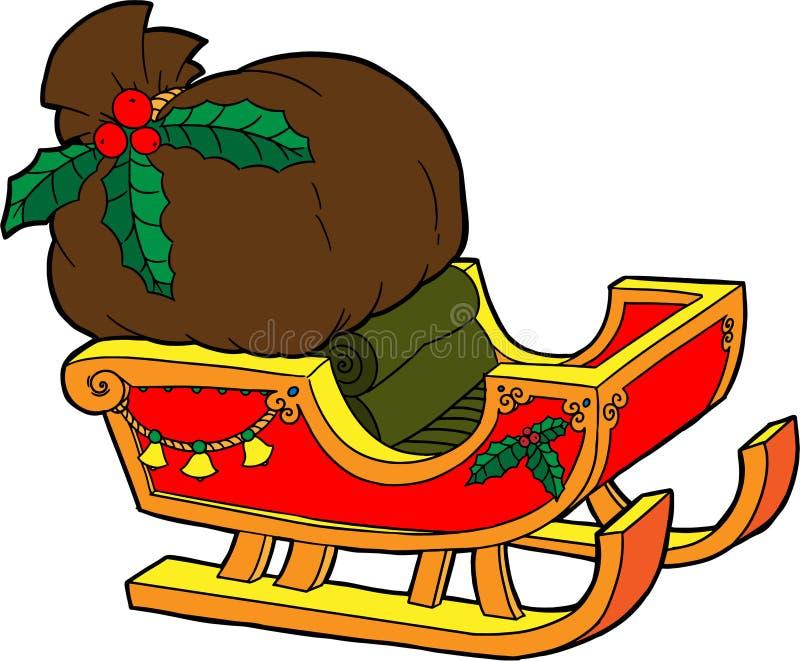 Σύνολο ελκήθρων Santa των δώρων διανυσματική απεικόνιση