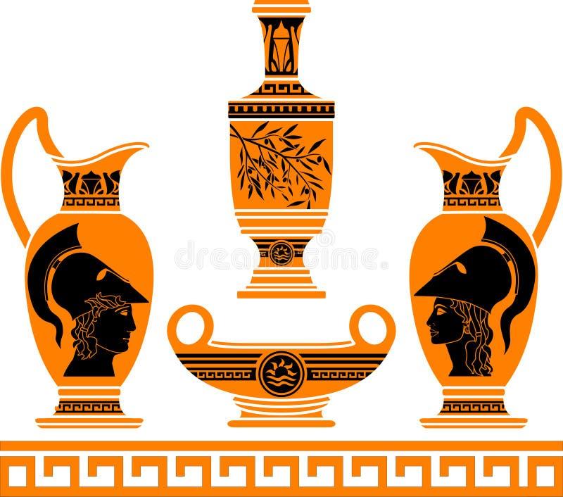 Σύνολο ελληνικά vases απεικόνιση αποθεμάτων