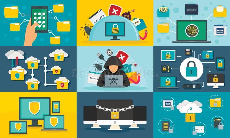 Σύνολο εμβλημάτων ασφάλειας υπολογιστών, επίπεδο ύφος ελεύθερη απεικόνιση δικαιώματος