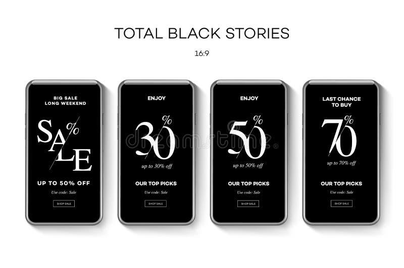 Σύνολο εμβλημάτων Ιστού πώλησης για τα κοινωνικά κινητά apps μέσων Μαύρα πώληση Παρασκευής και promo έκπτωσης, διανυσματική απεικ απεικόνιση αποθεμάτων