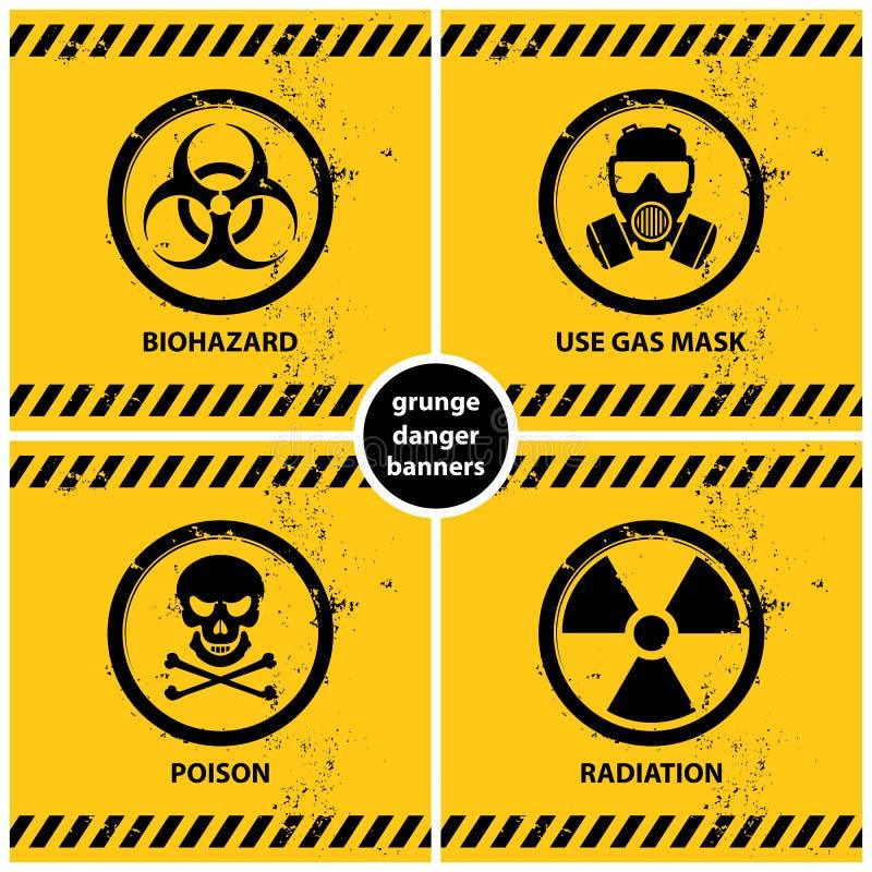 Σύνολο εμβλημάτων κινδύνου grunge απεικόνιση αποθεμάτων