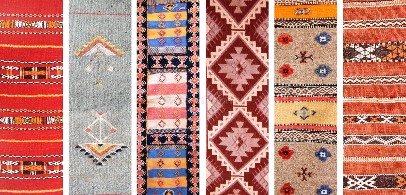 Σύνολο εμβλημάτων με τις συστάσεις των παραδοσιακών ταπήτων μαλλιού berber στοκ εικόνες