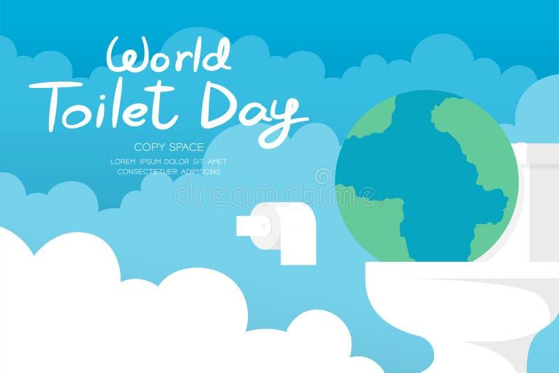 Σύνολο εμβλημάτων οριζόντων στις 19 Νοεμβρίου ημέρας παγκόσμιων τουαλετών, υγειονομική γη έννοιας προβλήματος με την επίπεδη απει διανυσματική απεικόνιση