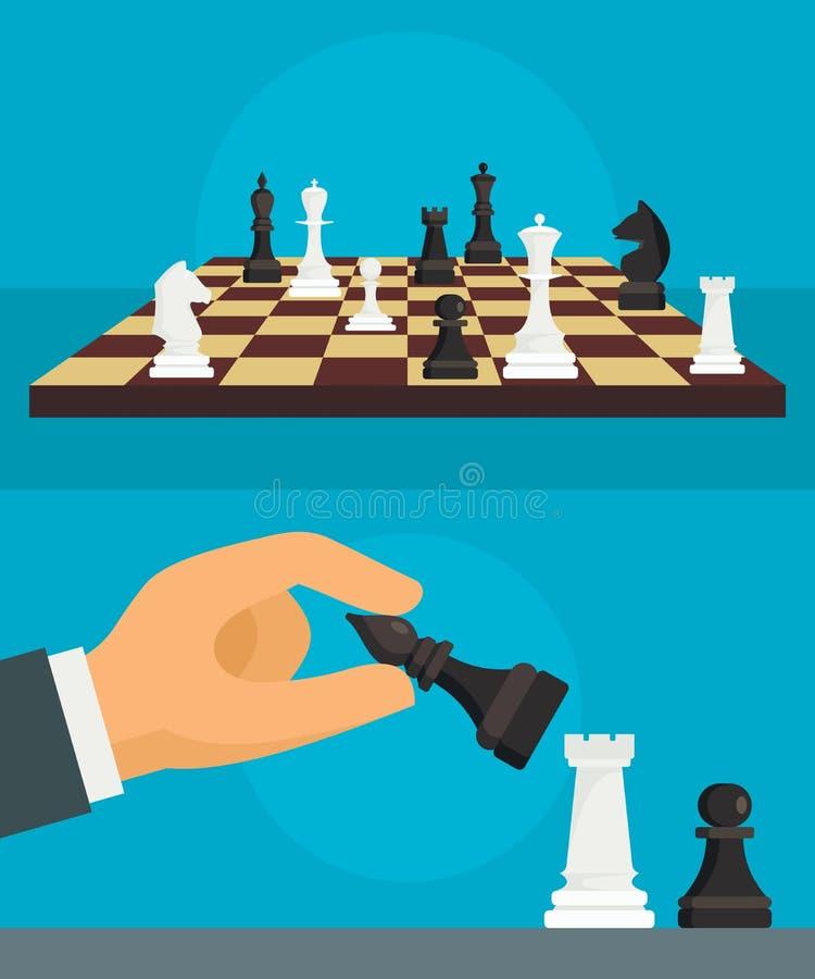 Σύνολο εμβλημάτων σκακιού, επίπεδο ύφος ελεύθερη απεικόνιση δικαιώματος