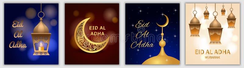 Σύνολο εμβλημάτων φεστιβάλ adha Al Eid, ρεαλιστικό ύφος ελεύθερη απεικόνιση δικαιώματος