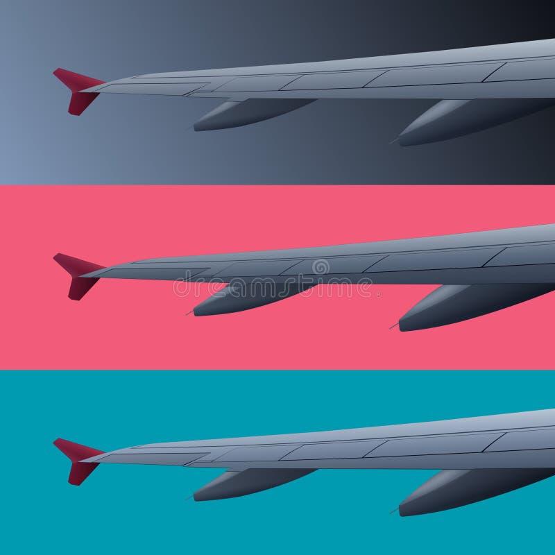 Σύνολο εμβλημάτων χρώματος με το φτερό αεροπλάνων ελεύθερη απεικόνιση δικαιώματος