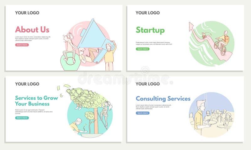 Σύνολο εμπορικών εμβλημάτων Ιστού για τη διαβούλευση και την υπηρεσία ξεκινήματος Υπηρεσίες για να αυξηθεί την επιχείρησή σας ξεκ διανυσματική απεικόνιση