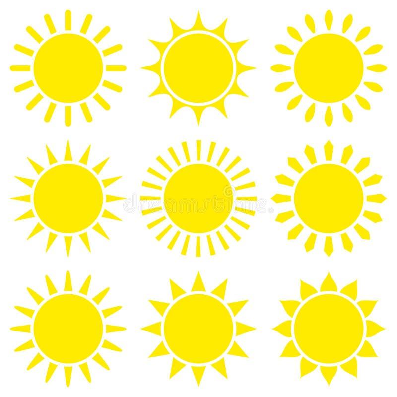 Σύνολο εννέα κίτρινων γραφικών εικονιδίων ήλιων ελεύθερη απεικόνιση δικαιώματος