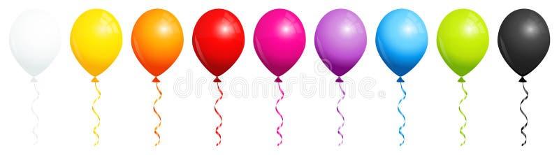 Σύνολο εννέα μπαλονιών ουράνιων τόξων με γραπτό ελεύθερη απεικόνιση δικαιώματος