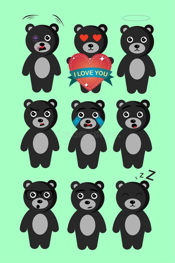 Σύνολο εννέα teddy αρκούδων με εννέα διαφορετικές συγκινήσεις απεικόνιση αποθεμάτων