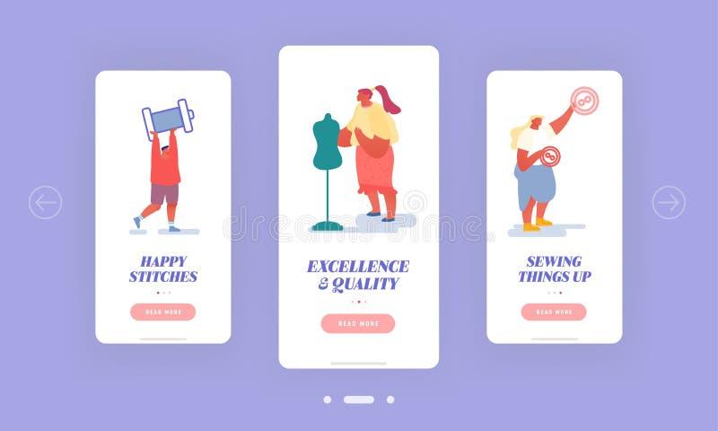 Σύνολο ενσωματωμένων οθονών Creative Atelier Fashion Design Mobile App Σχεδιαστές Δημιουργία Ενδυμάτων και Ενδυμάτων με Mannequin διανυσματική απεικόνιση