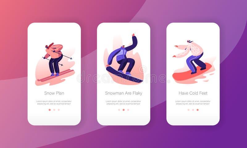 Σύνολο ενσωματωμένων οθονών Extreme Σνόουμπορντ και Skis Riding και Ακροβατικό Mobile App Αθλητές Νέων Σνόουμπορντ ελεύθερη απεικόνιση δικαιώματος