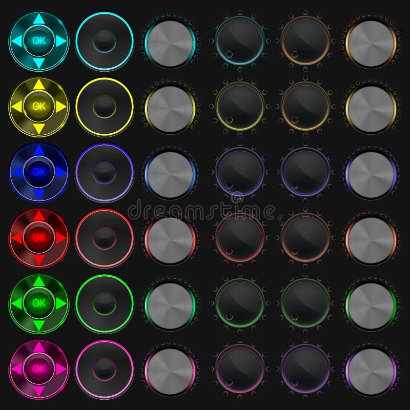 Σύνολο εξογκωμάτων μουσικής κουμπιών ρύθμισης στοκ εικόνες