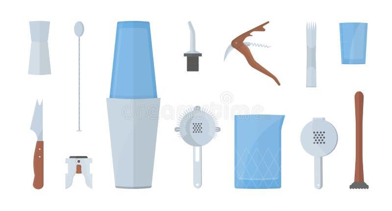 Σύνολο εξοπλισμού μπάρμαν ζωηρόχρωμη διανυσματική απεικόνιση στο επίπεδο ύφος διανυσματική απεικόνιση