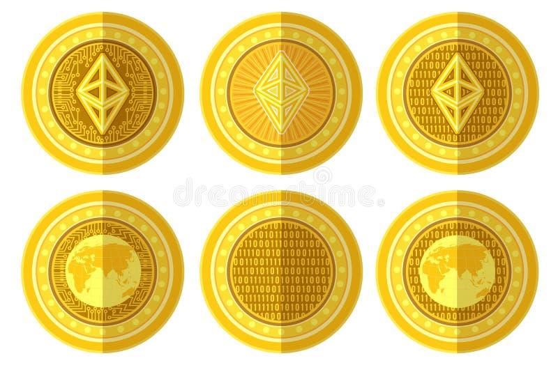 Σύνολο επίπεδου χρυσού νομίσματος με την πίσω και μπροστινή πλευρά σημαδιών ethereum bitcoin Απεικόνιση που απομονώνεται διανυσμα ελεύθερη απεικόνιση δικαιώματος