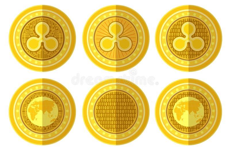 Σύνολο επίπεδου χρυσού νομίσματος με την πίσω και μπροστινή πλευρά σημαδιών κυματισμών bitcoin Απεικόνιση που απομονώνεται διανυσ διανυσματική απεικόνιση
