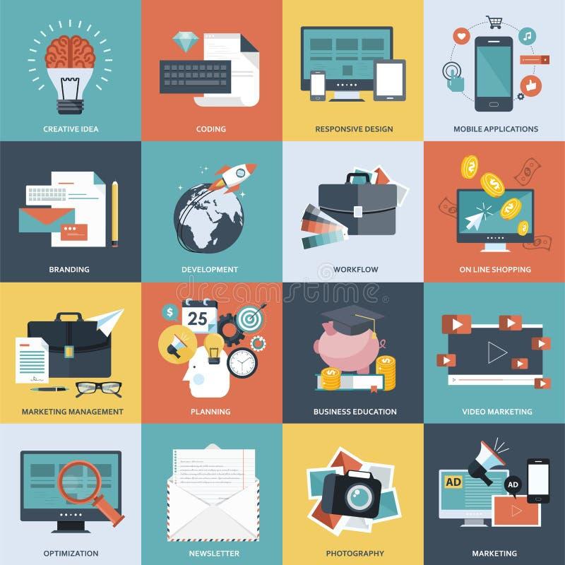 Σύνολο επίπεδων εικονιδίων έννοιας σχεδίου για την ανάπτυξη ιστοχώρου, το γραφικό σχέδιο, το μαρκάρισμα, τον Ιστό και την κινητή  απεικόνιση αποθεμάτων