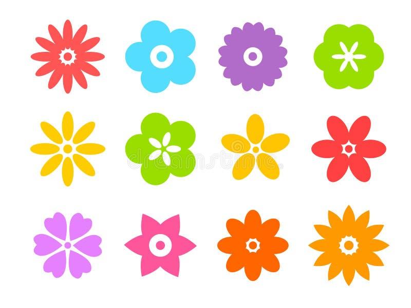 Σύνολο επίπεδων εικονιδίων λουλουδιών εικονιδίων στη σκιαγραφία που απομονώνονται στο λευκό για τις αυτοκόλλητες ετικέττες, ετικέ διανυσματική απεικόνιση