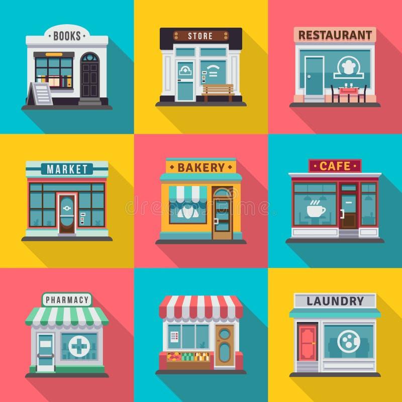Σύνολο επίπεδων εικονιδίων προσόψεων κτηρίου καταστημάτων Διανυσματική απεικόνιση για το τοπικό σχέδιο αποθηκών αγοράς διανυσματική απεικόνιση
