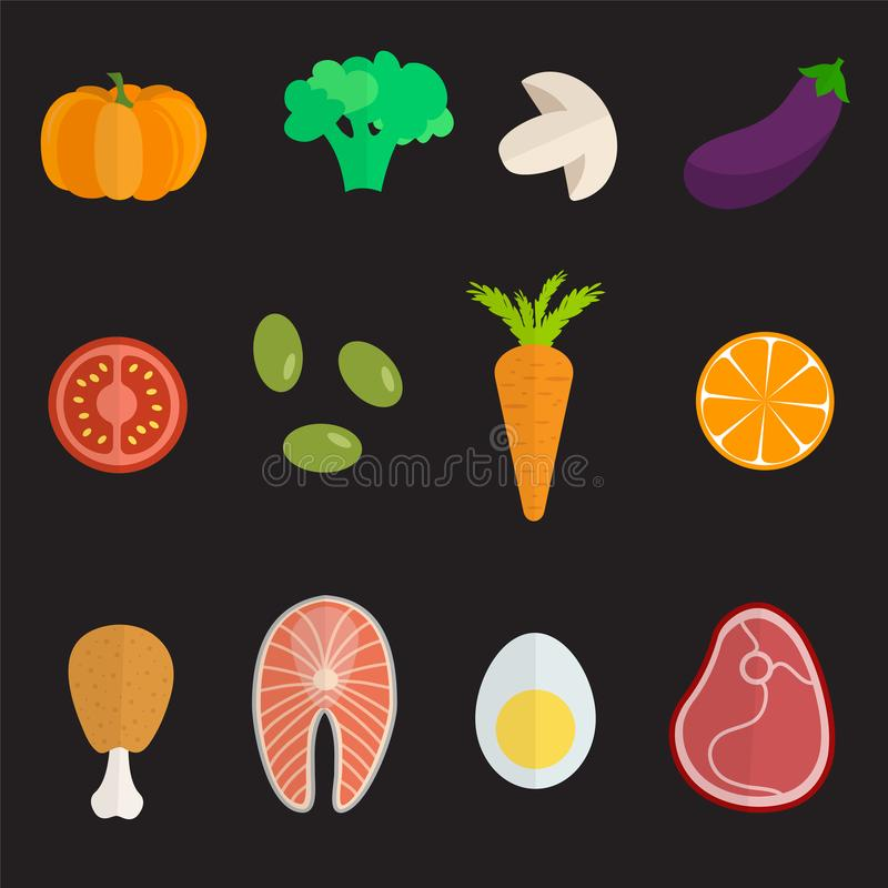 Σύνολο επίπεδων εικονιδίων σχεδίου για τα τρόφιμα και το ποτό διανυσματική απεικόνιση
