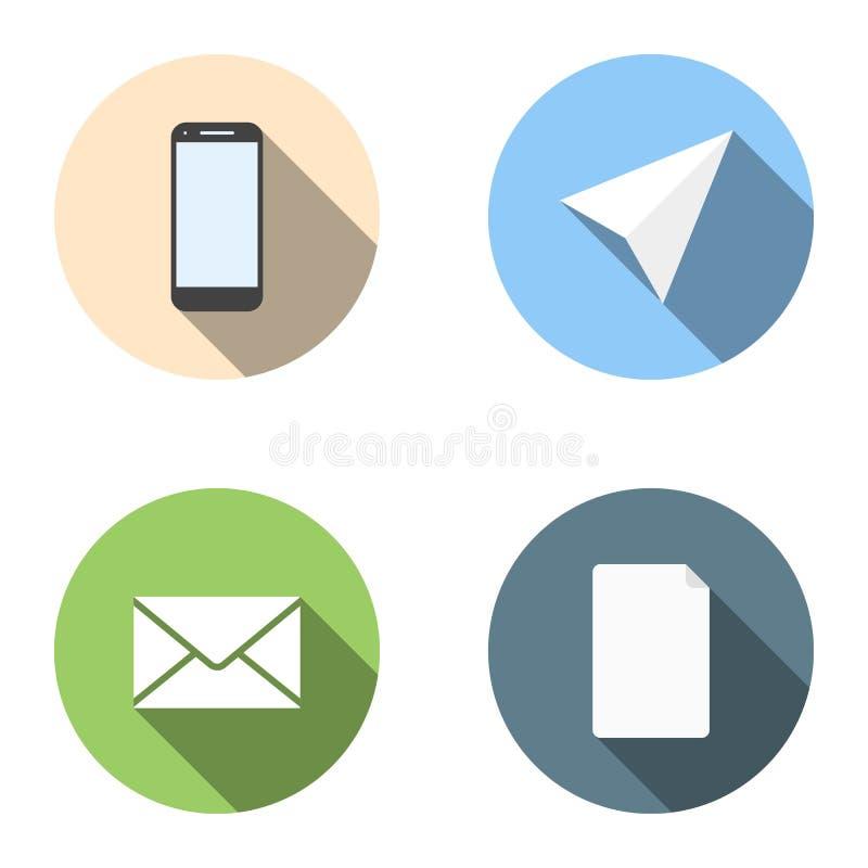 Σύνολο 4 επίπεδων εικονιδίων - τηλέφωνο, αεροπλάνο, ταχυδρομείο, κατάλογος ελεύθερη απεικόνιση δικαιώματος