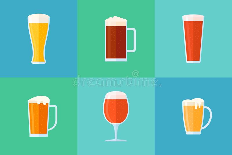 Σύνολο επίπεδων εικονιδίων ύφους γυαλιών μπύρας Διαφορετικοί τύποι μπύρας επίσης corel σύρετε το διάνυσμα απεικόνισης διανυσματική απεικόνιση
