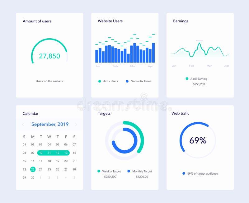 Σύνολο επίπεδων στοιχείων σχεδίου UI για τον ιστοχώρο και τις κινητές εφαρμογές απεικόνιση αποθεμάτων